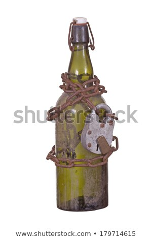 old bottle captured with chain and padlock Stock photo © pterwort