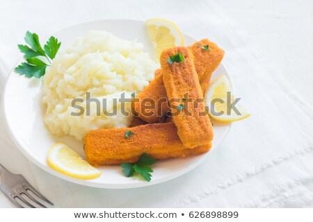 рыбы пальцы картофель черный зеленый Сток-фото © jaycriss