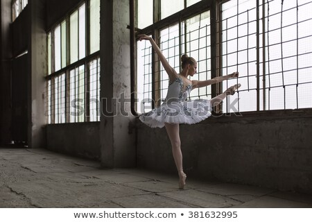 Ballet dancer in white tutu posing on one leg Stock photo © Geribody