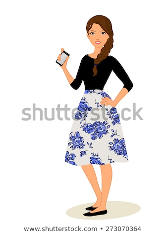 Lovely woman with a phone. Retro portrait Stock photo © Nejron