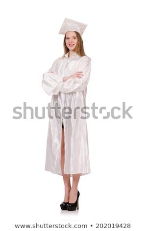 diplomás · lány · diploma · izolált · fehér · oktatás - stock fotó © elnur