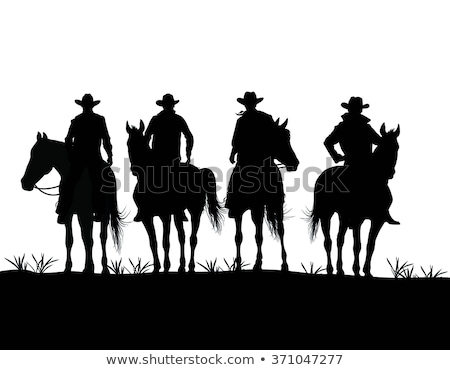 Cowboy sziluett terv művészet tehén fegyver Stock fotó © kiddaikiddee