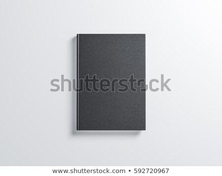 Foto stock: Livro · preto · cobrir · isolado · branco · projeto