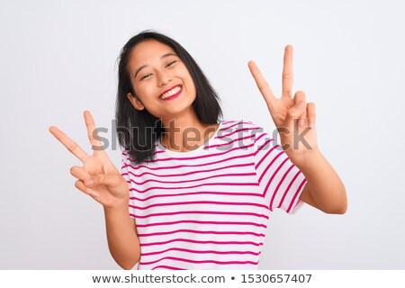 ストックフォト: 2 · 笑みを浮かべて · 見える · カメラ · カップル