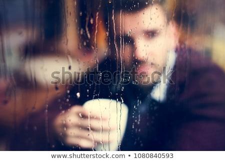 Сток-фото: печально · человека · окна · питьевой · кофе · только