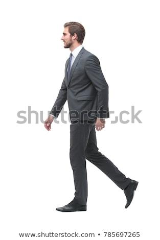 homem · de · negócios · mala · caminhada · falante · telefone · câmera - foto stock © feedough