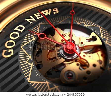 tiempo · una · buena · noticia · cronógrafo · eslogan · azul · negocios - foto stock © tashatuvango