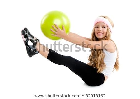 blond fitness kid girls exercise workout yoga ball Stock photo © lunamarina