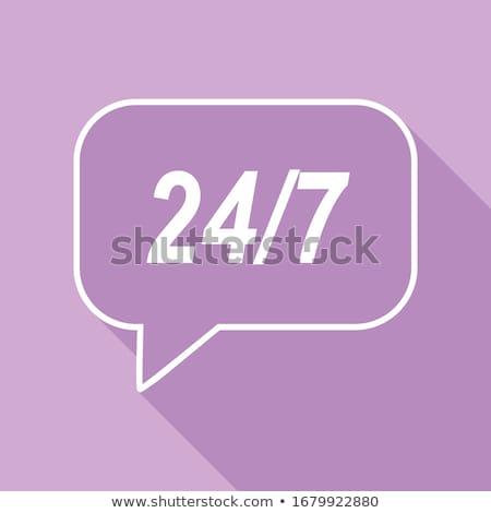 24 Hours Helpline Support Purple Vector Icon Stock photo © rizwanali3d