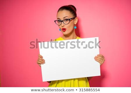Boldog nő tart plakát portré fiatal nő Stock fotó © AndreyPopov
