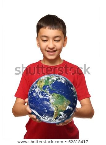 emberi · kéz · tart · Föld · emberi · kezek · zöld - stock fotó © mikko