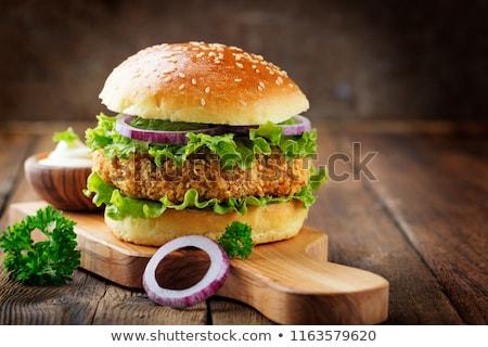 kip · hamburger · geïsoleerd · sesamzaad · voedsel - stockfoto © zoryanchik