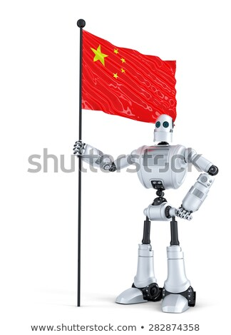 android robot standing with flag of china isolated contains clipping path stock photo © kirill_m