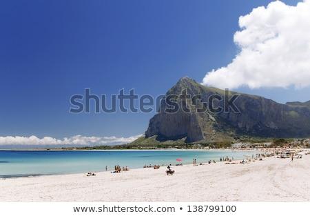 ストックフォト: 表示 · 海 · シチリア島 · ビーチ · 水 · 山