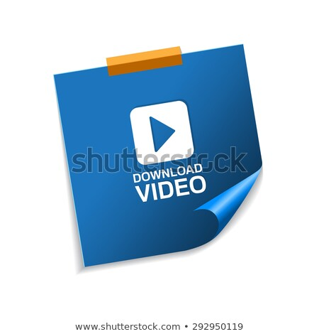 download video blue sticky notes vector icon design stock photo © rizwanali3d