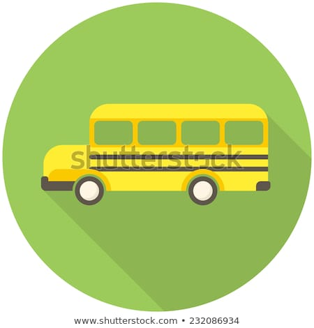 Flat School Bus Transport Illustration with long Shadow Stock photo © Anna_leni