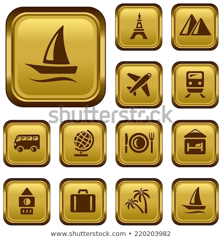 Stock photo: Airplane Sign golden Vector Icon Design