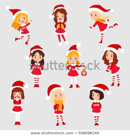 美しい · セクシーな女性 · サンタクロース · 帽子 · 赤いドレス · 人 - ストックフォト © choreograph