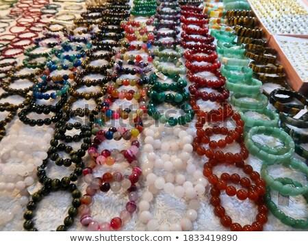 Mooie zilver armband kostbaar stenen geïsoleerd Stockfoto © tetkoren