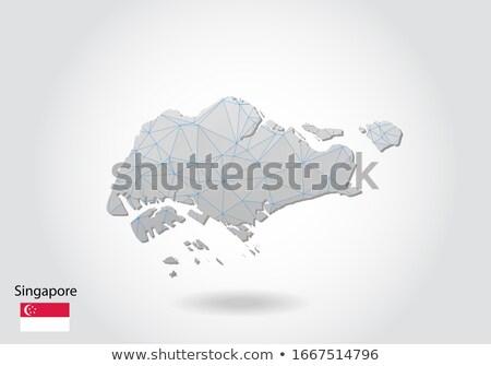 Singapour pays pavillon carte forme texte Photo stock © tony4urban