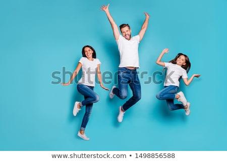 Stok fotoğraf: Atlama · aile · el · mutlu · çocuk · çift