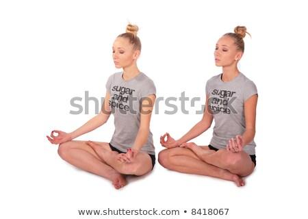 Gêmeo esportes meninas meditando mulher corpo Foto stock © Paha_L