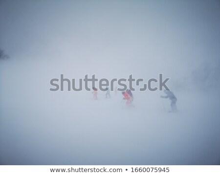 Slechte weer bergen winter landschap bewolkt avond Stockfoto © Kotenko
