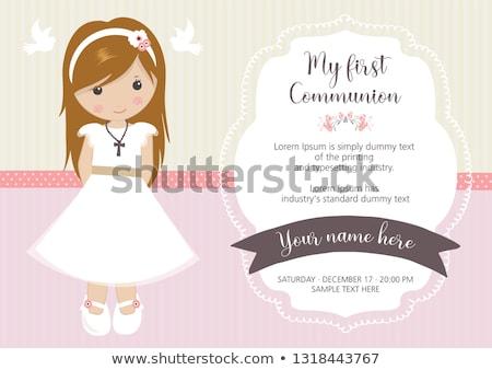 primo · comunione · carta · ragazza · rosa - foto d'archivio © marimorena