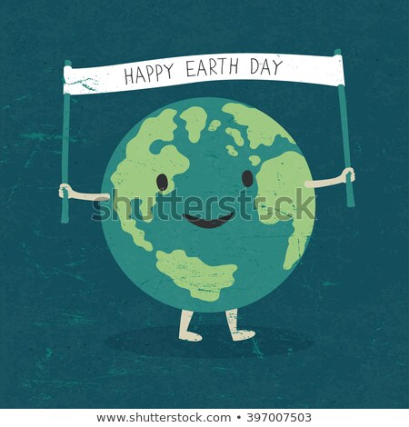 Cartoon Earth Illustration. Planet smile and hold banner with 'H Stock photo © pashabo