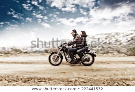 Motosiklet adam kız örnek çift komik Stok fotoğraf © adrenalina