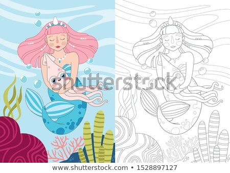 Coloring worksheet with girl Stock photo © bluering