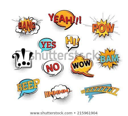 Dynamic comic speech bubble for different emotions and sound effects. Hanging Speech Bubble Cloud. P Stock photo © Designer_things