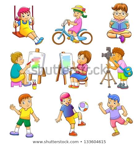 Proste rysunek chłopca uruchomiony ilustracja biały Zdjęcia stock © bluering