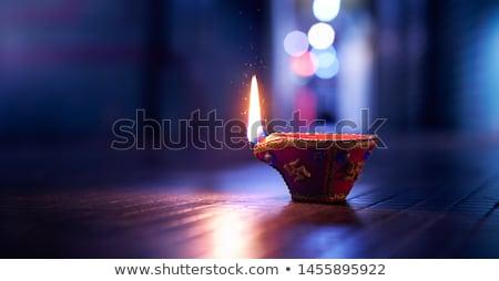 Petróleumlámpa citromsárga szín fehér üveg fém Stock fotó © bluering