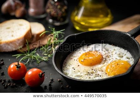 Frito ovos frigideira pão café da manhã ovo Foto stock © mady70