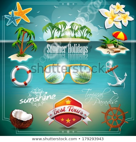 Stock photo: Vector Summer Holiday Icon set on blue sea background. Eps10 ill