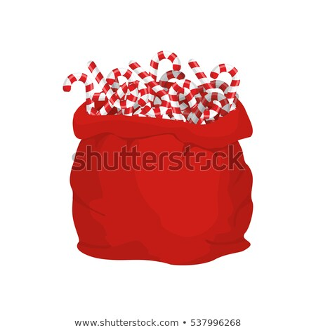 Santa bag of Christmas peppermint lollipop. Christmas sack and m Stock photo © popaukropa