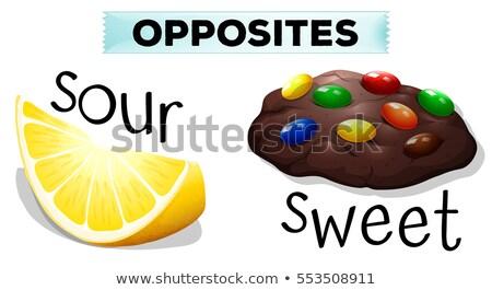 Ellenkező szavak fanyar édes illusztráció étel Stock fotó © bluering