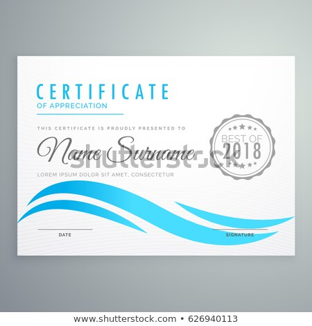white certificate of appreciation with blue wavy shape Stock photo © SArts