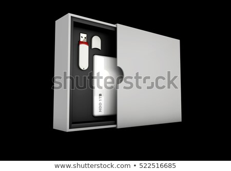 Illustaration of Black and silver flash, hdd in white box on background. Mockup Stock photo © tussik