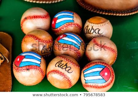 Leder baseball bal cubaans vlag witte Stockfoto © CaptureLight
