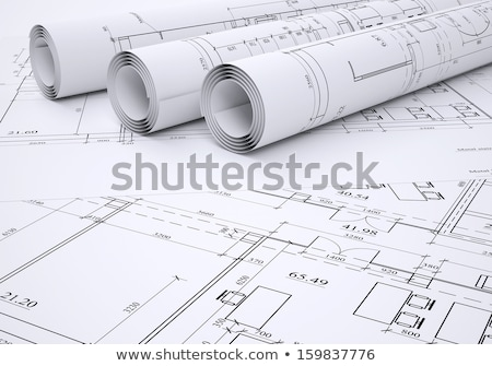 the engineering drawing on a paper ruler pencil stock photo © iserg