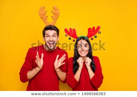 Rénszarvas pár illusztráció esküvő vicces házasság Stock fotó © adrenalina