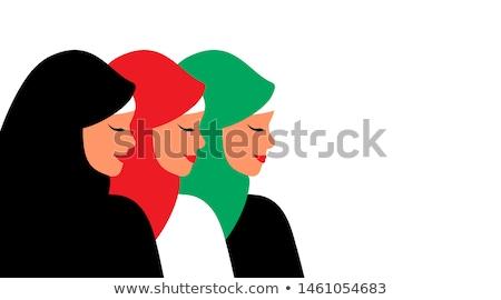 Muslim arab woman in colored hijab. Arabian portrait. Vector Ill Stock photo © NikoDzhi