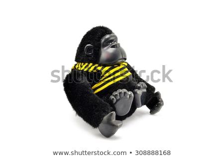 Szczęśliwy goryl biały ilustracja charakter tle Zdjęcia stock © bluering
