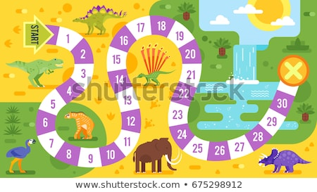 Stockfoto: Kids Board Game With Dinosaurs Template