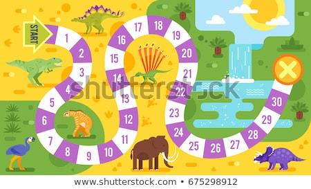 Gyerekek társasjáték dinoszauruszok sablon vektor stílus Stock fotó © curiosity