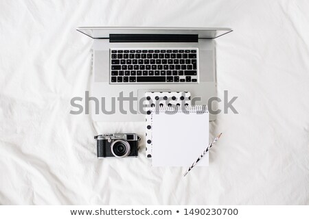 businessman desk workspace with laptop keyboard retro camera h stock photo © manera