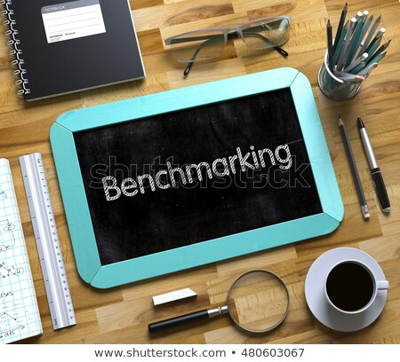 benchmarking on small chalkboard 3d illustration stock photo © tashatuvango