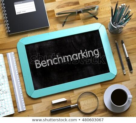 Stock photo: Benchmarking on Small Chalkboard. 3D Illustration.